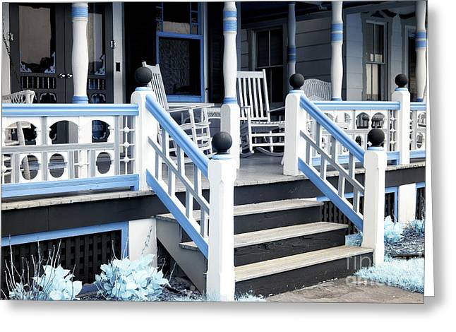 Blue Railing In Ocean Grove Greeting Card by John Rizzuto