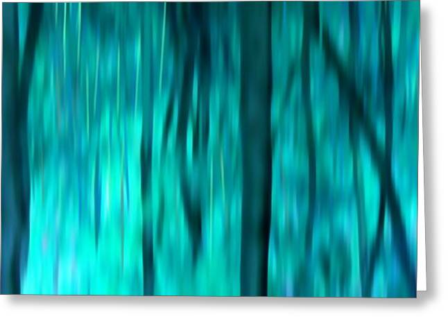 Blue Rain Forest Greeting Card by Lucie Lenzket