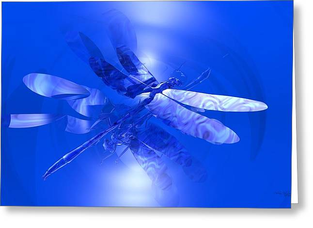 Blue Reflections Dragonfly Greeting Card