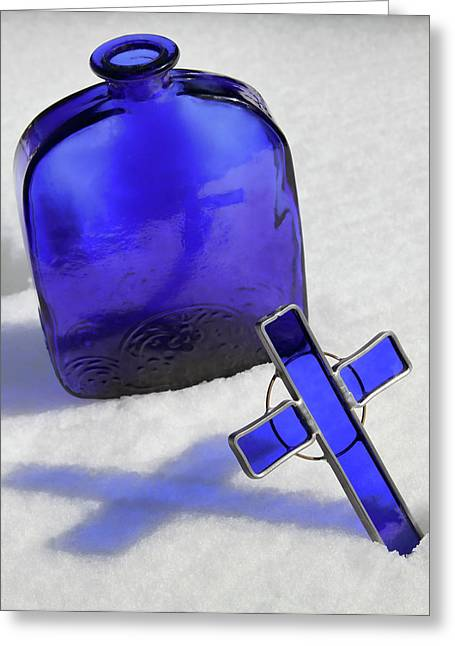 Blue Reflections On Snow Greeting Card by Tony Grider