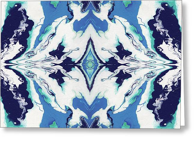 Blue Rhapsody Double- Art By Linda Woods Greeting Card
