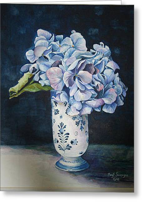 Greeting Card featuring the painting Blue Rhapsody by Margit Sampogna