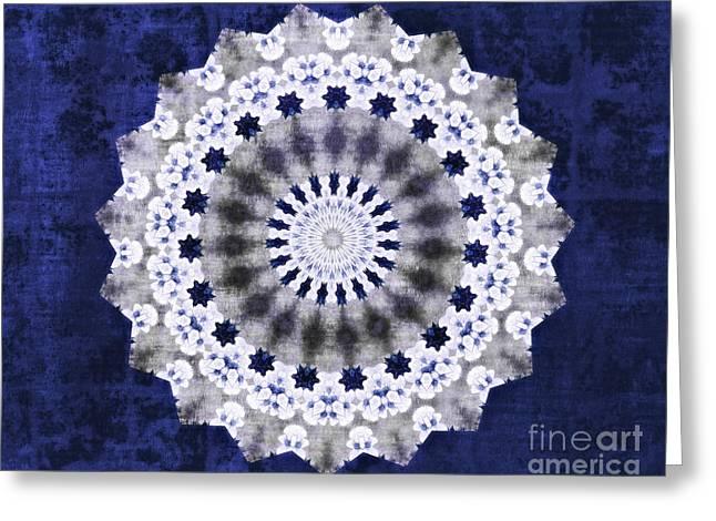 Blue Ribbon Mandala Greeting Card by Sandra Gallegos