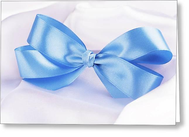 Blue Ribbon Satin Bow  Greeting Card by Vadim Goodwill