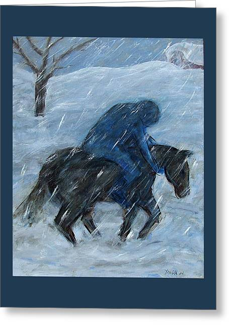 Blue Rider On Horse Greeting Card