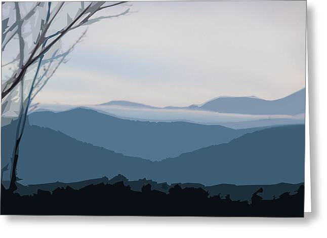 Greeting Card featuring the digital art Blue Ridge Above The Clouds by Gina Harrison