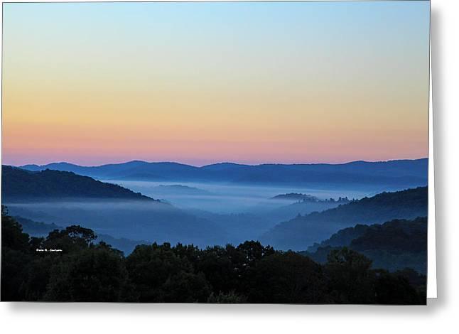 Blue Ridge Dawn Greeting Card by Dale R Carlson
