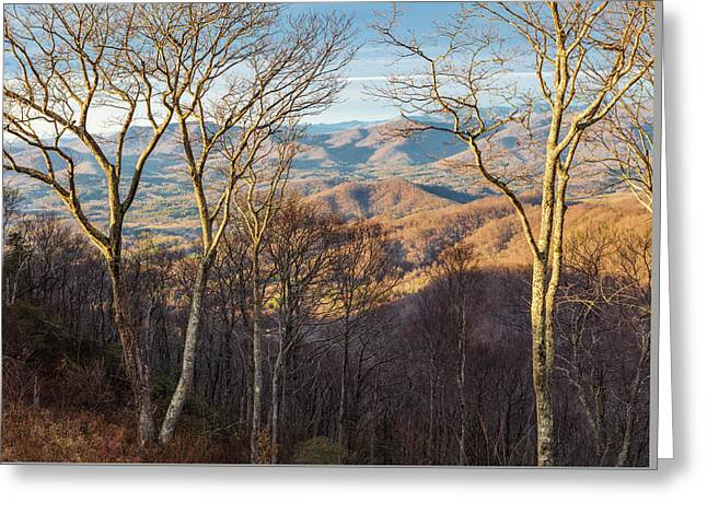 Greeting Card featuring the photograph Blue Ridge Longshadows by Carl Amoth