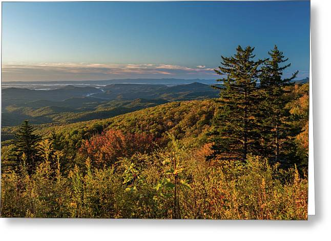 Blue Ridge Mountain Autumn Vista Greeting Card