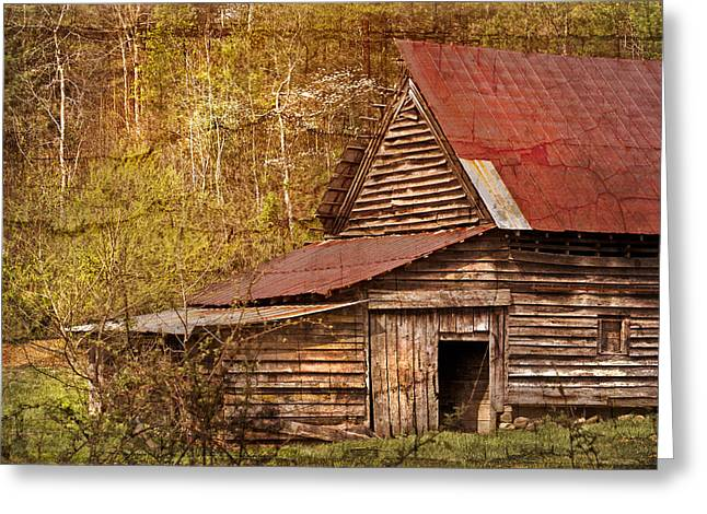 Blue Ridge Mountain Barn Greeting Card by Debra and Dave Vanderlaan