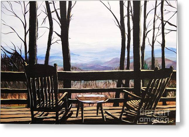 Greeting Card featuring the painting Blue Ridge Mountain Porch View by Patricia L Davidson