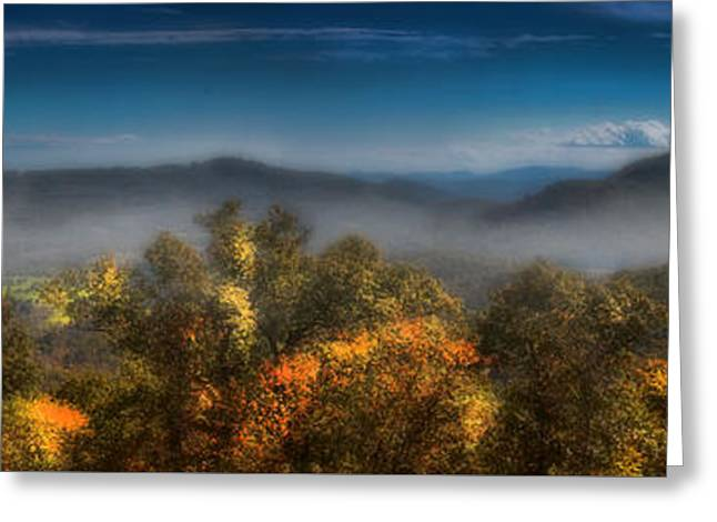 Greeting Card featuring the photograph Blue Ridge Panorama by Ellen Heaverlo