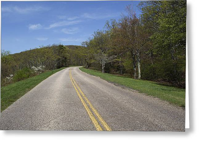 Yellow Line Greeting Cards - Blue Ridge Parkway - Virginia Greeting Card by Brendan Reals