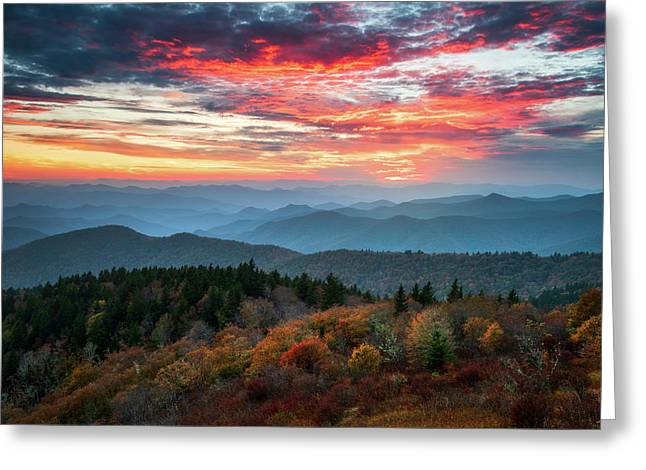 Blue Ridge Parkway Autumn Sunset Scenic Landscape Asheville Nc Greeting Card