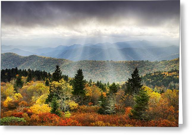 Ridges Greeting Cards - Blue Ridge Parkway Light Rays - Enlightenment Greeting Card by Dave Allen
