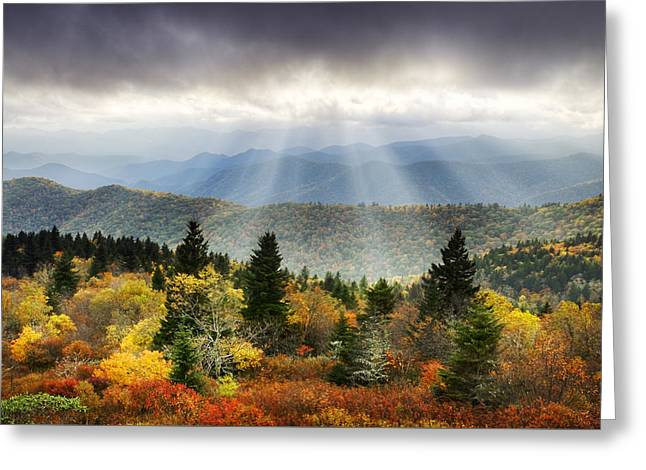 Blue Ridge Parkway Light Rays - Enlightenment Greeting Card