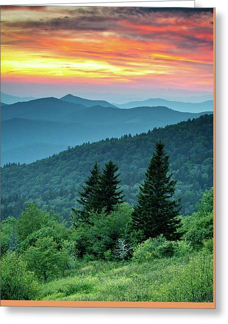 Blue Ridge Parkway Nc Landscape - Fire In The Mountains Greeting Card