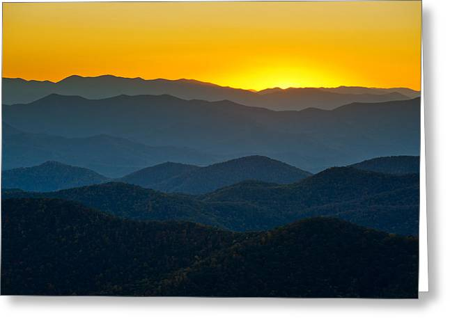 Blue Ridge Parkway Sunset Nc - Afterglow Greeting Card by Dave Allen