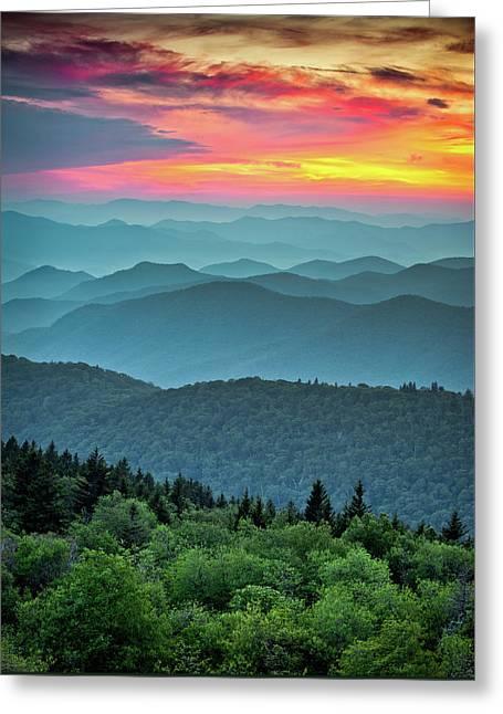 Blue Ridge Parkway Sunset - The Great Blue Yonder Greeting Card