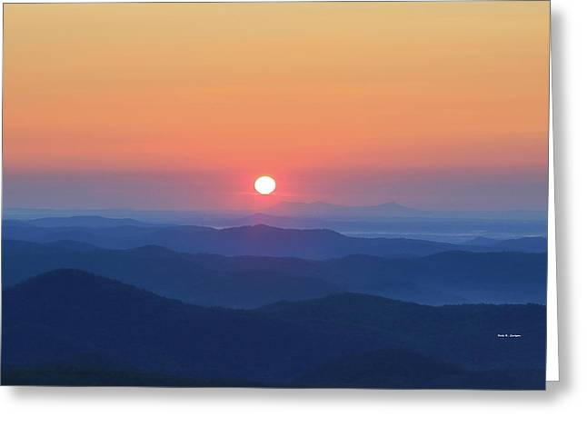 Blue Ridge Sunrise Greeting Card by Dale R Carlson
