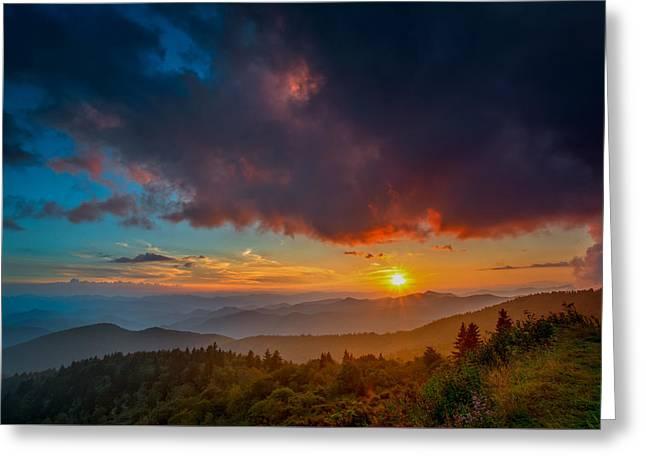 Greeting Card featuring the photograph Blue Ridge Sunset by Joye Ardyn Durham