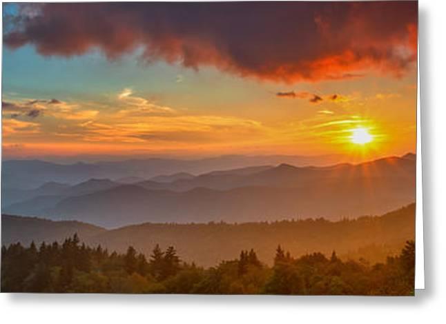 Blue Ridge Sunset Pano Greeting Card