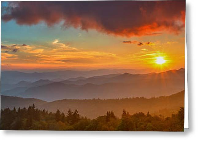 Blue Ridge Sunset Pano Greeting Card