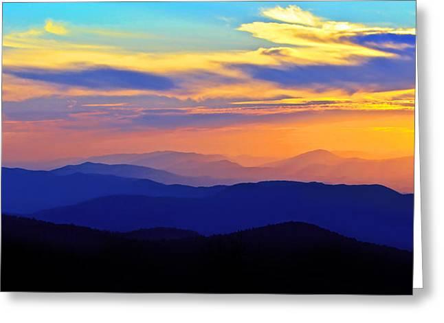 Blue Ridge Sunset, Virginia Greeting Card