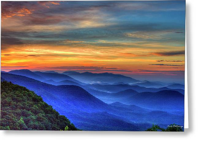 Greeting Card featuring the photograph Blue Ridges 2 Pretty Place Chapel View Great Smoky Mountains Art by Reid Callaway