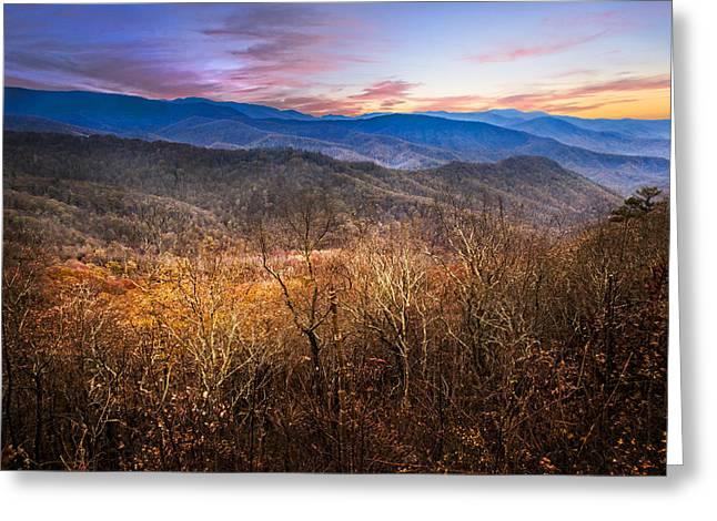 Blue Ridges Greeting Card by Debra and Dave Vanderlaan