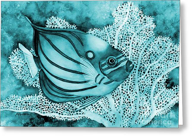 Blue Ring Angelfish On Blue Greeting Card by Hailey E Herrera