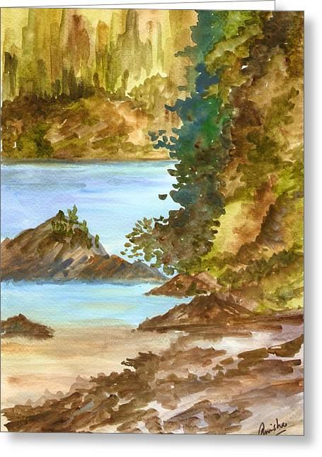 Blue River Greeting Card by Anisha Bordoloi