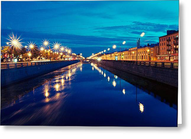 Blue Road Greeting Card by Vadim Tereshchenko