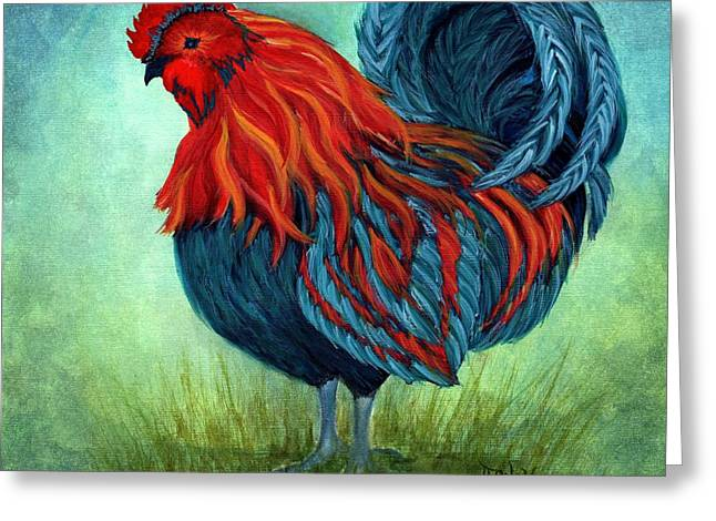 Blue Roo - Rooster Greeting Card