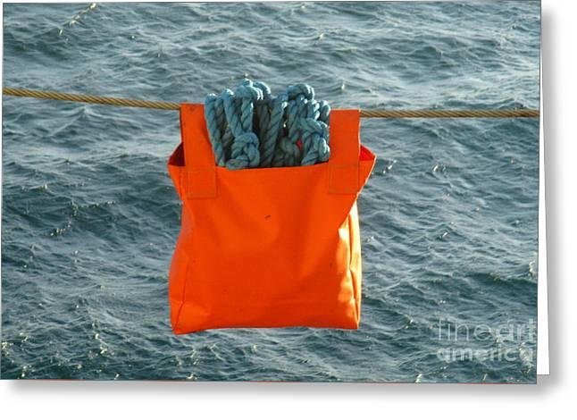 Blue Rope In Orange Bag Greeting Card by Randall Weidner