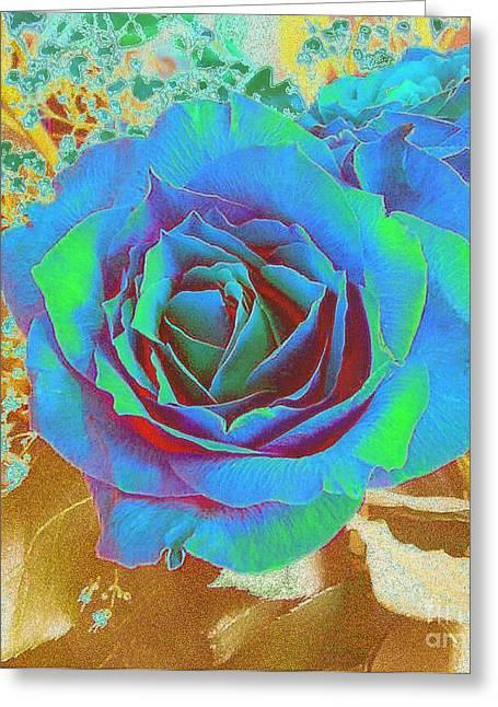 Blue Rose Greeting Card by Addie Hocynec