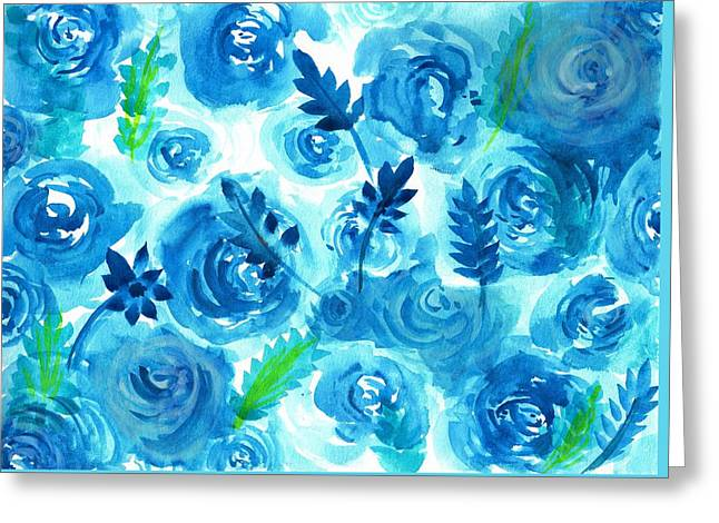 Blue Rose Flower In Watercolor Painting Greeting Card by My Art
