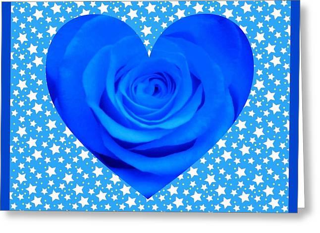 Blue Rose Heart Design Greeting Card