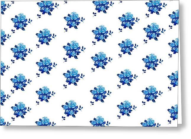 Blue Rose Pattern 2 Greeting Card by Jan Matson