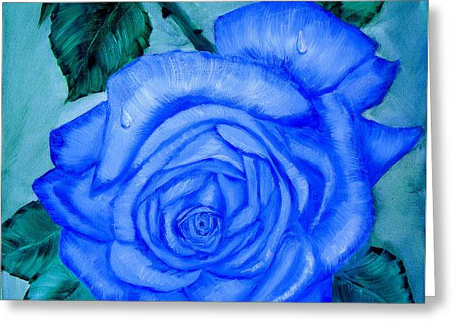Blue Rose Greeting Card by Quwatha Valentine