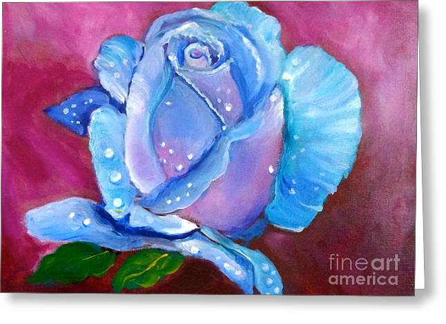 Blue Rose With Dew Drops Greeting Card