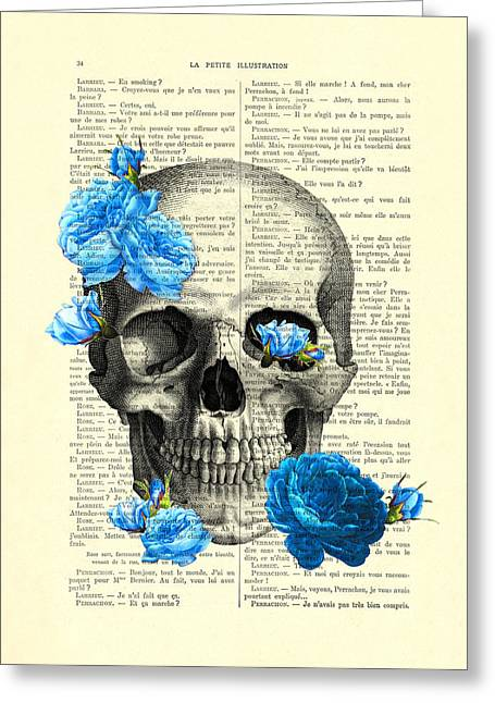 Blue Roses With Skull Art Print Greeting Card by Madame Memento
