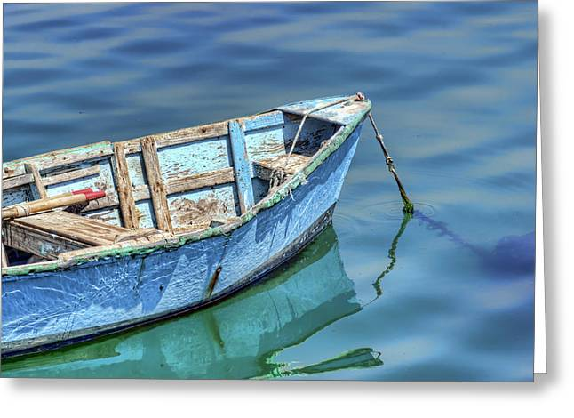Blue Rowboat At Port San Luis 2 Greeting Card