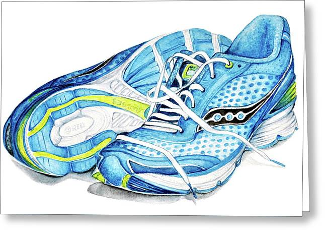 Blue Running Shoes Greeting Card by Heidi Kriel
