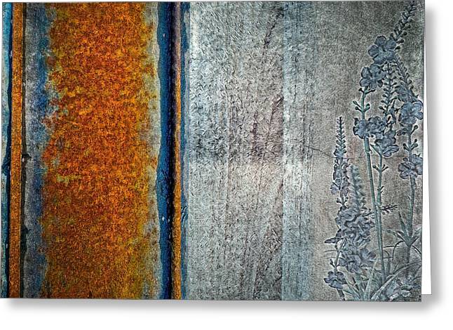 Greeting Card featuring the mixed media Blue Rust by Lita Kelley