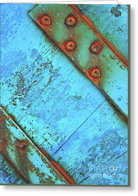 Blue Rusty Boat Detail Greeting Card