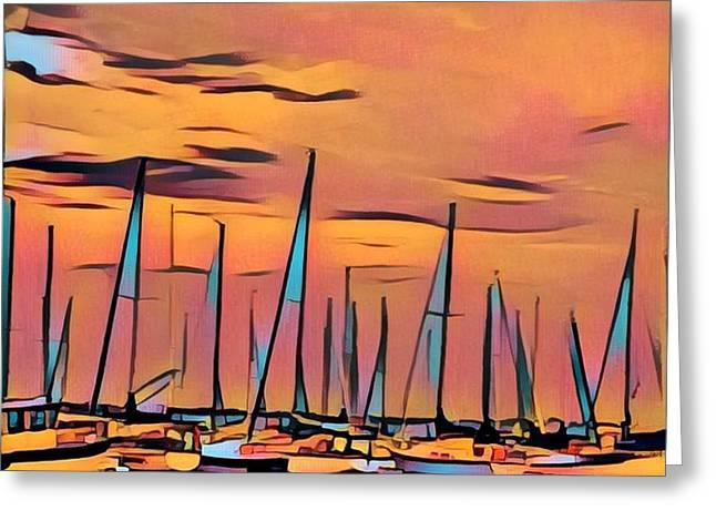 Blue Sails At Sunset Greeting Card