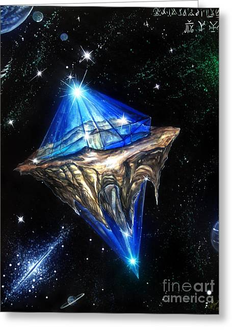Blue Sapphire Asteroid. Space Treasure Greeting Card by Sofia Goldberg