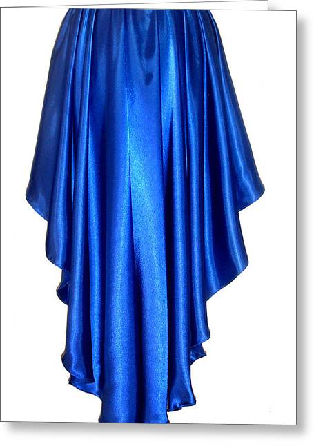 Blue Satin High-low Skirt. Ameynra Design. Pic-2 Greeting Card by Sofia Metal Queen