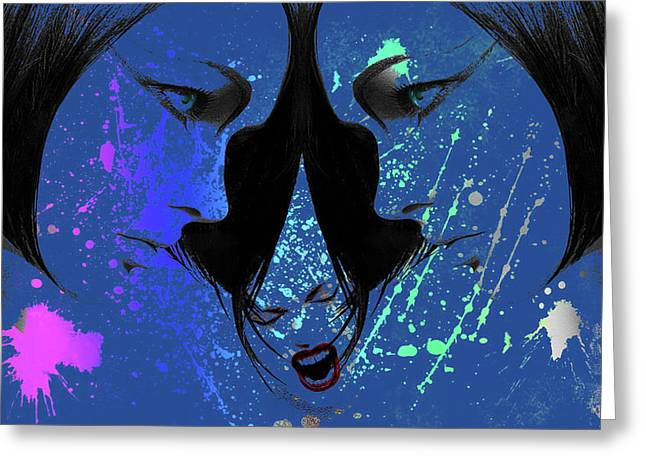 Greeting Card featuring the digital art Blue Screamer by Greg Sharpe